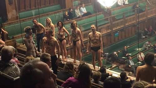 Climate change activists in UK parliament