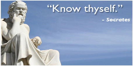 statue of socrates thinking and the frase 'know thy self' signed socrates writen in the background