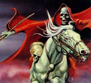 The grim reaper riding a white horse